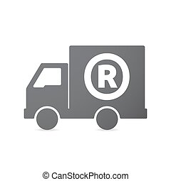 Isolated truck icon with    the registered trademark symbol