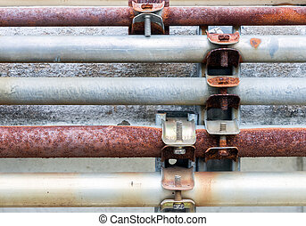 Dirty pipeline set with the metal screw