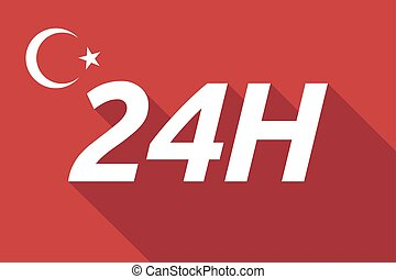 Long shadow Turkey flag with the text 24H - Illustration of...