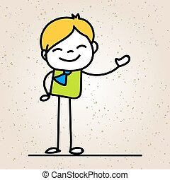 Hand drawing cartoon happy business man smile with happiness concept character