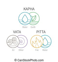 Ayurveda vector elements and doshas. Vata, pitta, kapha...