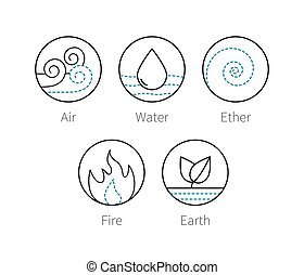 Ayurveda elenemts icons set, vector symbols - Ayurveda...