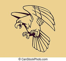 Bald Eagle Line Art - Vector illustration of eagle on line...
