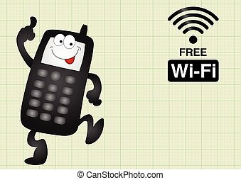 Free Wifi connection - Comical mobile telephone and free...