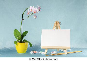 vida, caballete, lona, acuarela, flor, blanco, todavía,...
