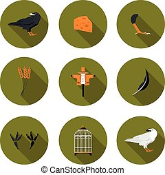 set of flat icons crow in vector format eps10
