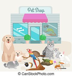 Pet shop, accessories and vet store.