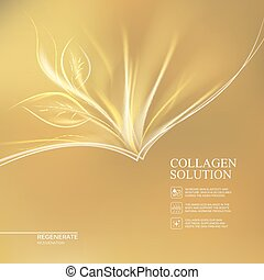 Golden background collagen solution. - Scince illustration...