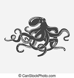 Octopus with feeding tentacles and wavy arms with suction...