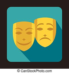 Comedy and tragedy theatrical masks icon in flat style on a...