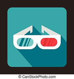 3D cinema glasses icon, flat style - 3D cinema glasses icon...
