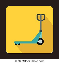 Hand pallet truck icon, flat style