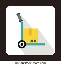 Hand cart with cardboard icon, flat style - Hand cart with...