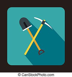 Pick tool and shovel icon, flat style - Pick tool and shovel...