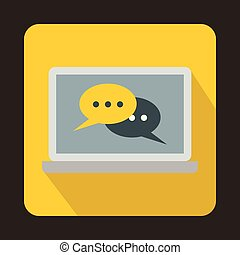 Speech bubbles on laptop icon, flat style