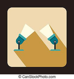 Two spotlights icon in flat style