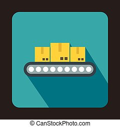 Conveyor belt with boxes icon, flat style