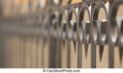 abstract metal railing steel and blured background.