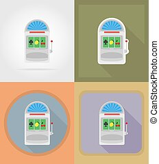 casino objects and equipment flat icons illustration...