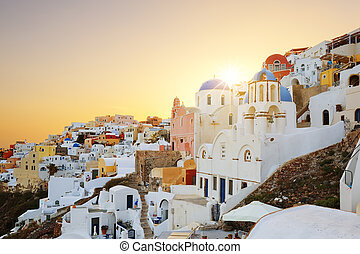 View of Oia at sunset