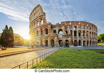 Colosseum in Rome with morning sun