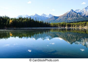 Herbert Lake in Autumn Morning, Canadian Rockies