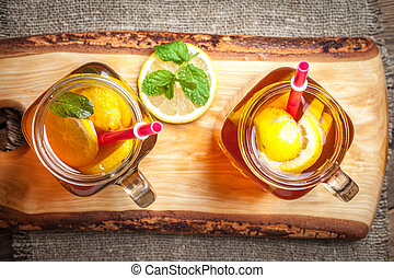 Fresh homemade ice tea. - Fresh homemade ice tea with lemon...