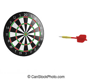 3D darts flight  - Red 3D dart fly to the board