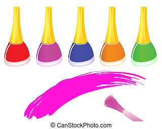 nail polish - row of multicolored nail polish bottles and...