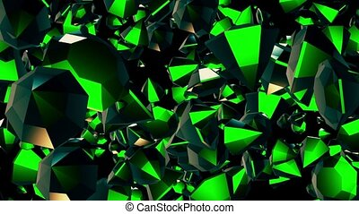 Abstract rotating,flying gems in green on black
