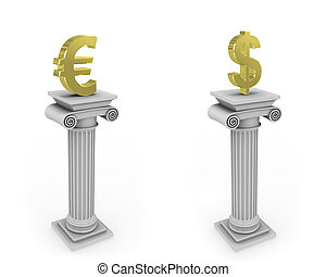 Collumn with currency sign - Two 3D columns with euro and...