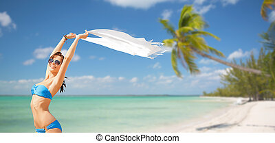 woman in bikini and sunglasses - people, summer holidays and...