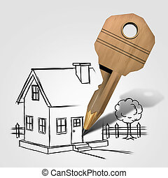House Key Drawing - House key drawing and planning a family...