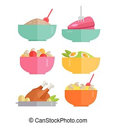 Set of Traditional Dishes Vectors in Flat Design - Set of...