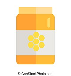 Glass Jar with Honey Vector Illustration.