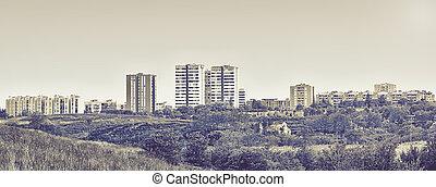 burned urban landscape - urban landscape in black and white