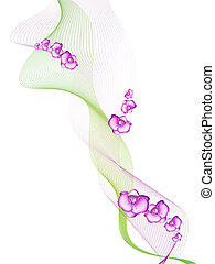 orchid - abstract decoration with blend and orchid flowers...