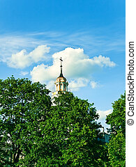 church - cylindrical dome of church against the blue sky
