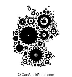 Germany map silhouette mosaic of cogs and gears