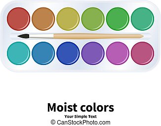 Vector illustration packaging watercolor paints - Vector...
