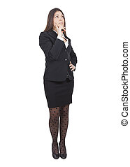 Businesswoman thinking - middle-aged caucasian businesswoman...