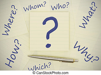 Unanswered questions - Adhesive notes with question marks on...