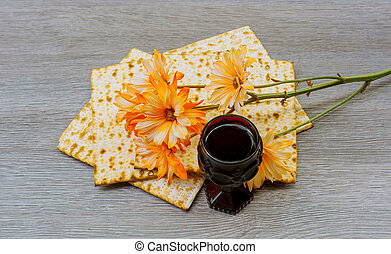 wine and matzoh jewish passover bread  matzo
