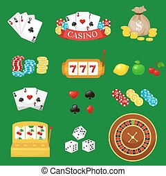 Gambling pictograms set. Deck of cards and casino, playing...