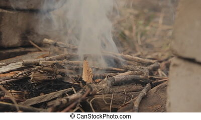 Flames of wood ember with smoke and flash fire. For grill...