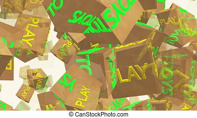 Flying wooden cubes with inscription Play and Toys on white