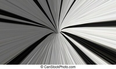 Abstract rotating tunnel in black and white