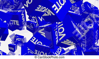 Flying blue cubes with inscription Vote on white