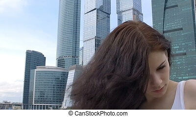 Close up portrait of beautiful young woman wave of hair
