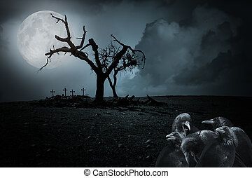 Halloween night background with full moon, spooky naked...
